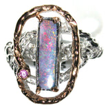 Pink and green Solid boulder opal from Quilpie , Sterling silver  Ring