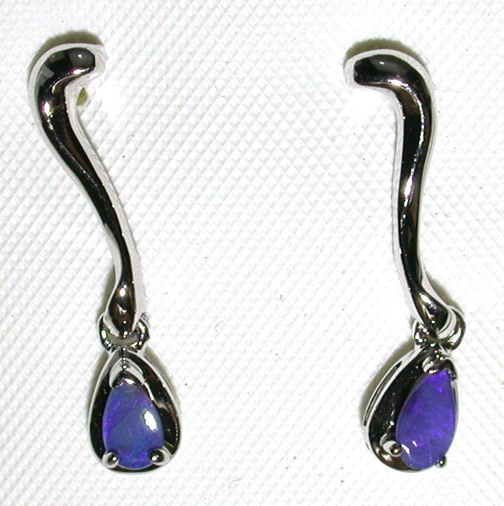 Blue solid boulder opal drop earrings