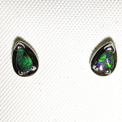 Green solid boulder opal studs earrings