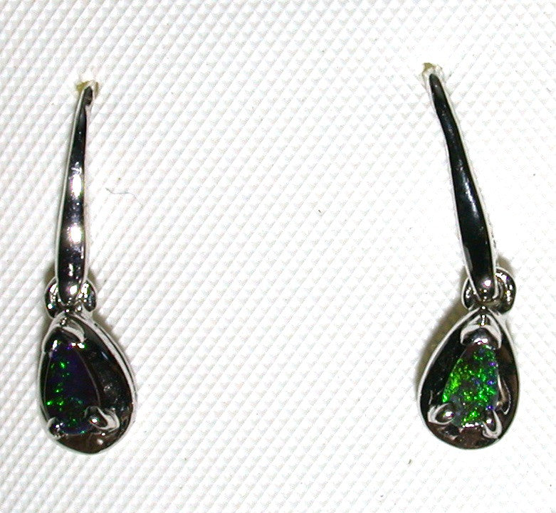 Green solid boulder opal drop earrings