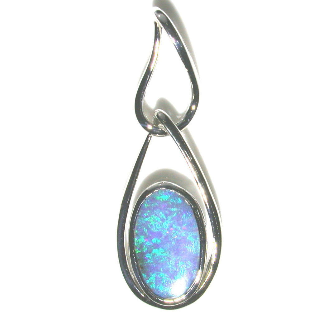 Green and blue solid boulder opal pendant