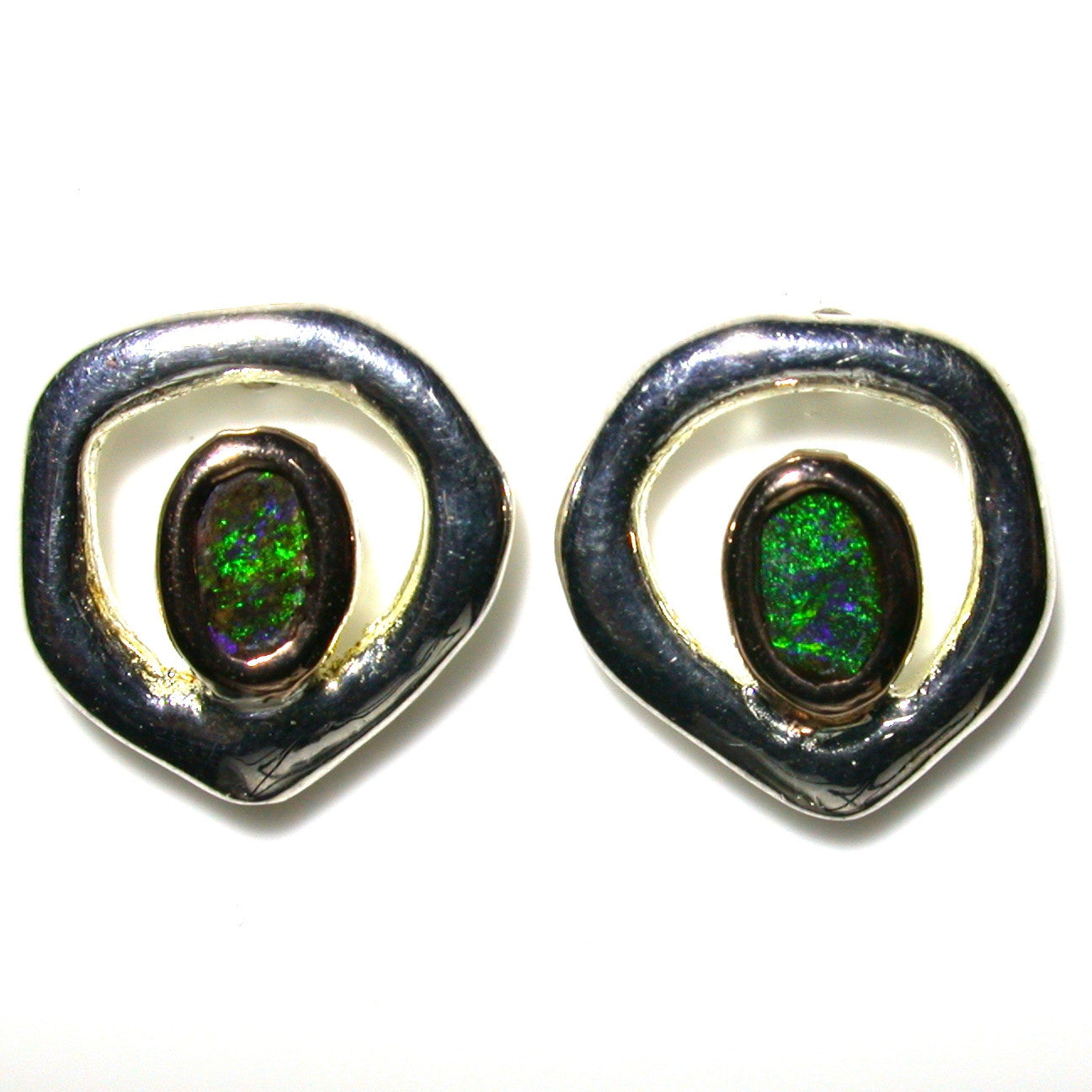 Green solid boulder opals set in sterling silver stud earrings