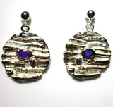 Purple , blue solid boulder opals and amethyst set in sterling silver drop earrings