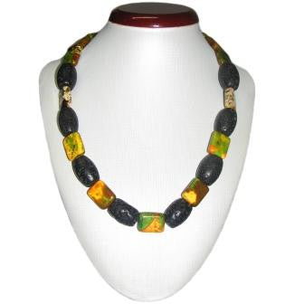 Stunning Jasper and Lava Bead Necklace