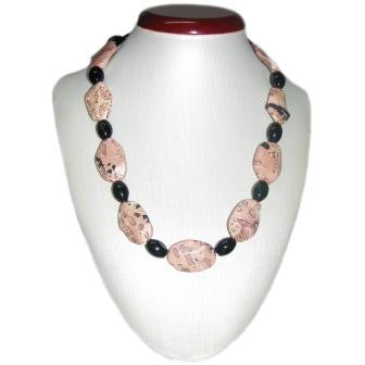 Pink Jasper and Onyx Bead Necklace