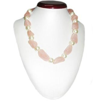 Rose Quartz and Glass Pearl Beaded Necklace