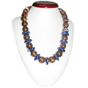 Very Unique Boulder Opal and Lapis Beaded Necklace