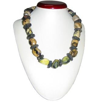 Serpentine and Jagged Onyx Necklace