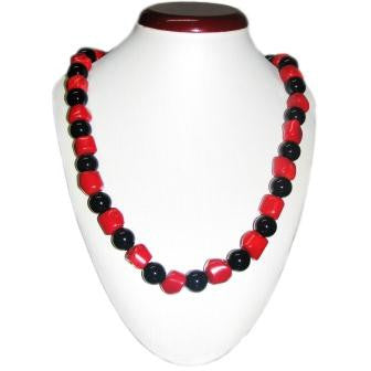 Red Coral and Black Onyx Bead Necklace