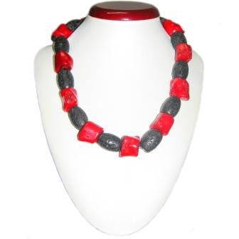 Unique Coral and Lava Bead Necklace