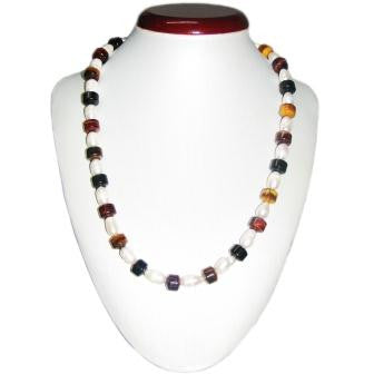 Tiger Eye and Freshwater Pearl bead Necklace
