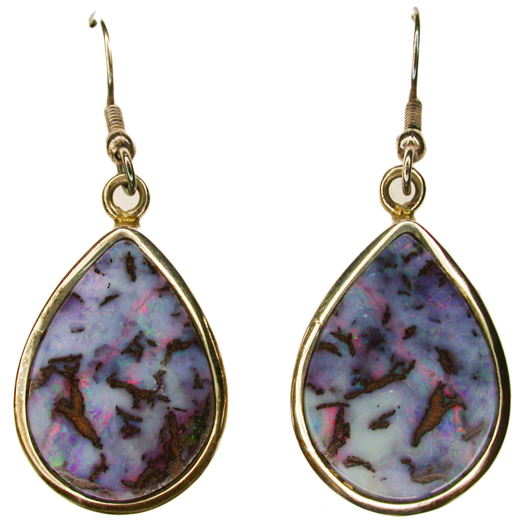 Pink Artistic Boulder Opal Earrings Sterling Silver