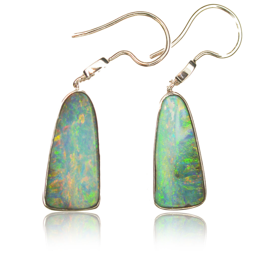 Multi Coloured Boulder Opal Drop Earrings