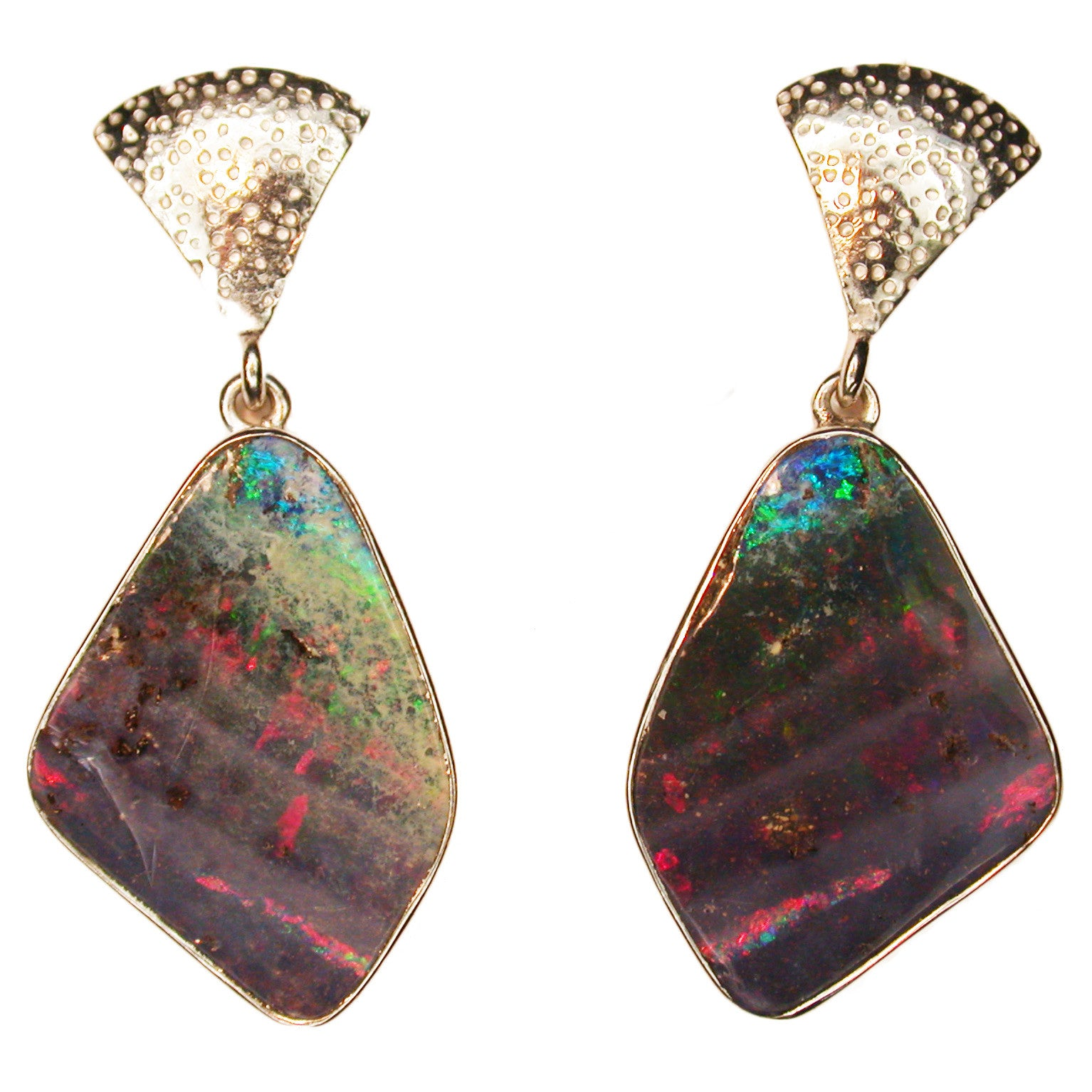 Red Green Jelly Boulder Opal Earrings
