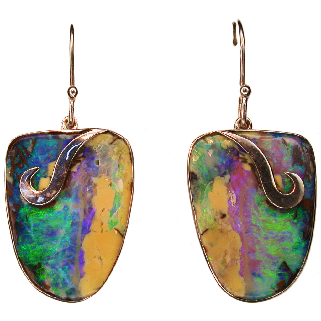 Large Green Boulder Opal Drop Earrings