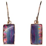 Pink Multi Coloured Striped Opal Drop Earrings