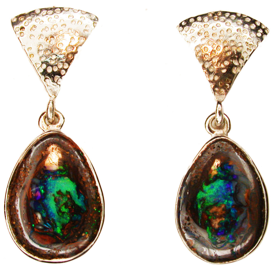 Green Koroit Nut Opal Earrings