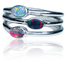 Three Stone Multi Coloured Boulder Opal Ring
