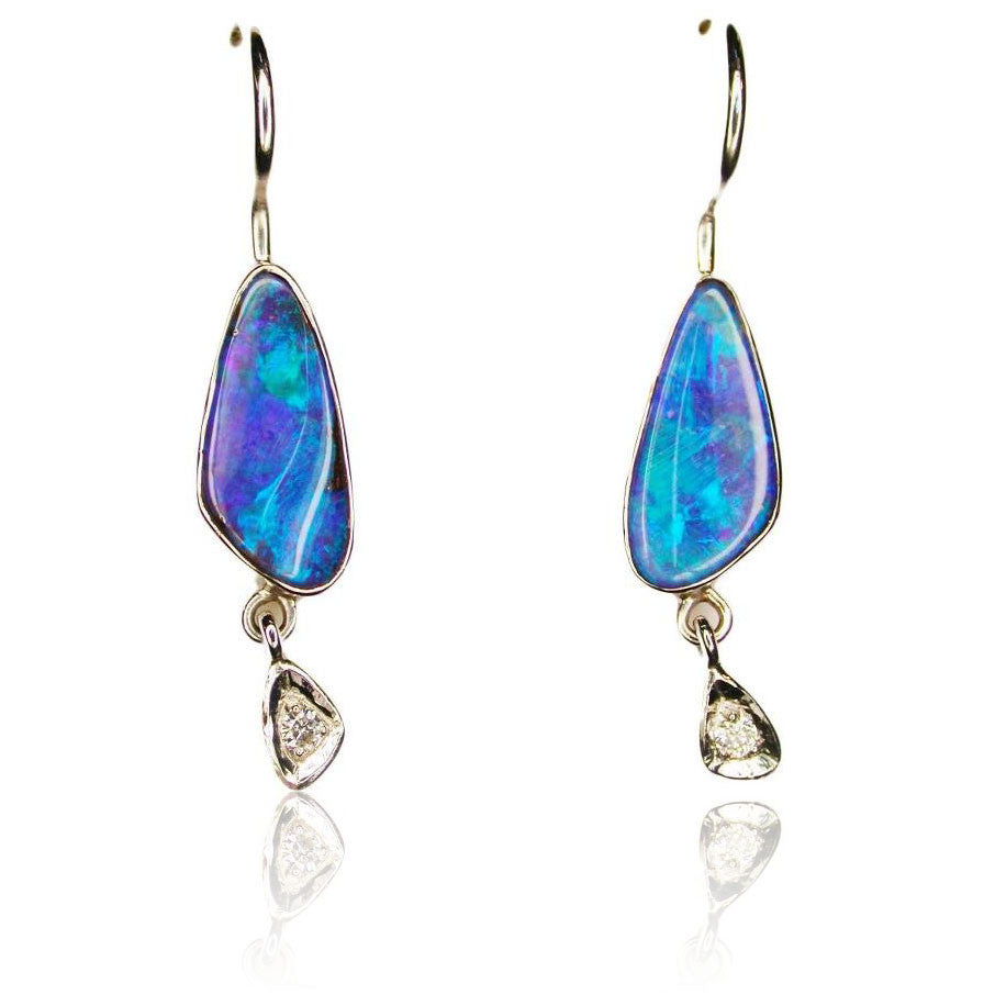 Green Blue White Gold Opal Earrings
