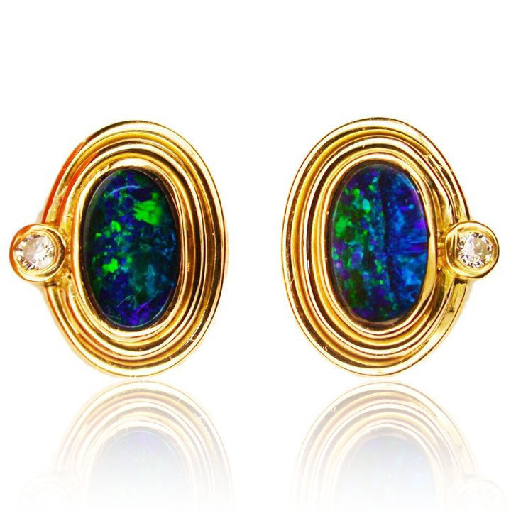 Gem Black Green Blue Boulder Opal Studs