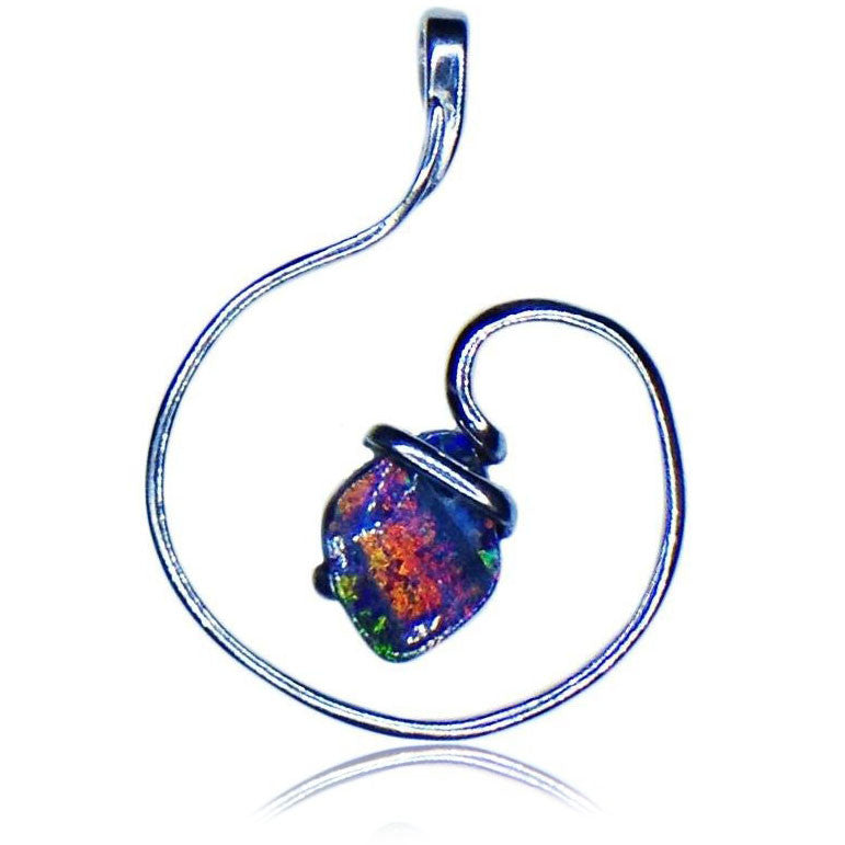 Pink Multi Coloured Opal Pendant