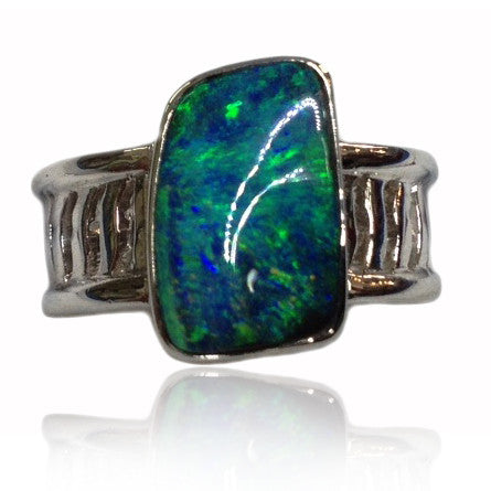 Green Solid Opal White Gold Ring
