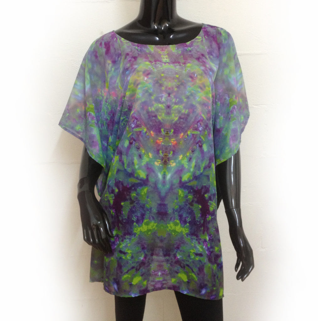 Green Blue Multi Colour Round Neck Kaftan