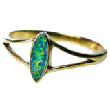 Green Orange Boulder Opal 9k Ring