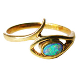 Light Green Boulder Opal 9k Ring
