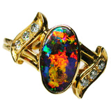 Red Fire Boulder Opal 18k Ring