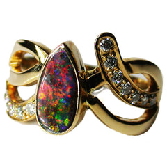 18k on Fire Boulder Opal Ring