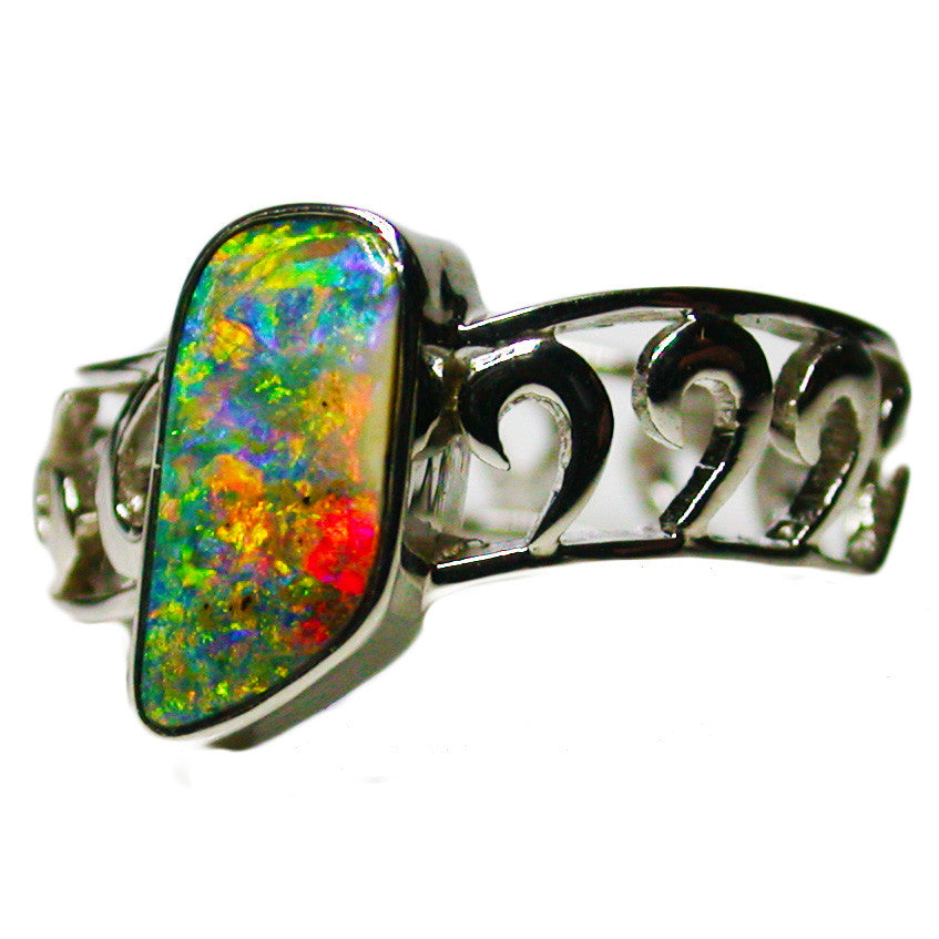 Bright Multi Coloured 18k White Gold Opal Ring