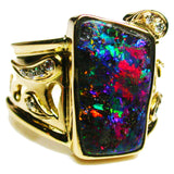 Red Green Violet Boulder Opal Ring