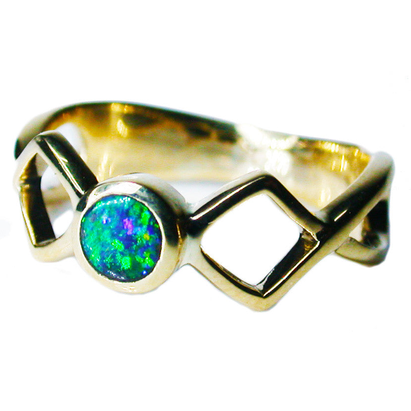 Bright Green Boulder Opal Ring