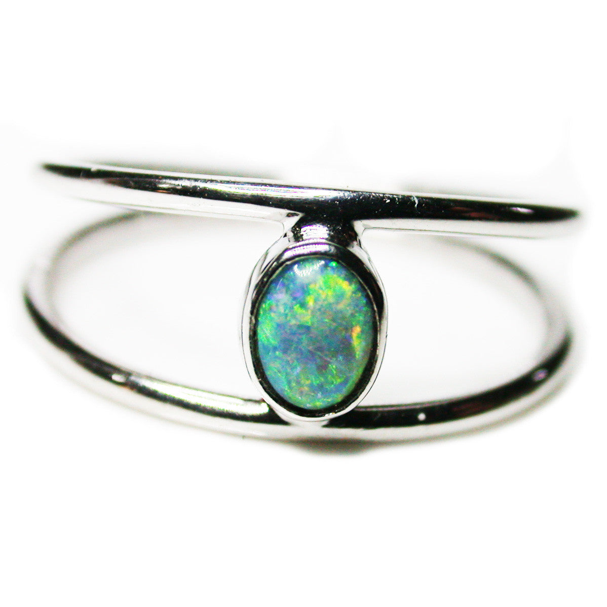 Green Gold Sterling Silver Boulder Opal Ring
