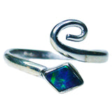 Blue Green Sterling Silver Boulder Opal Ring