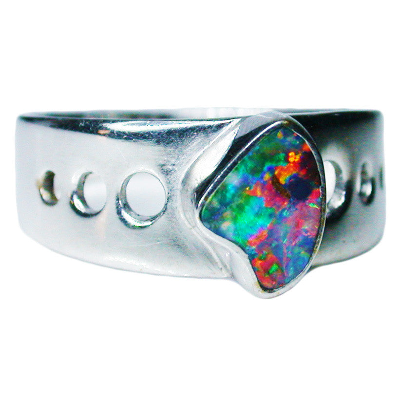 Red Multi Coloured Sterling Silver Opal Ring