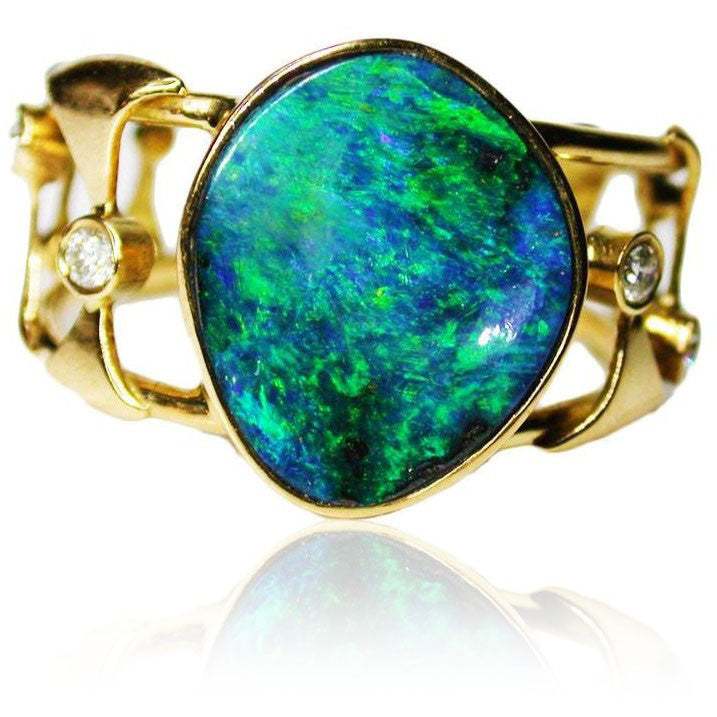 Green 18k Diamond Boulder Opal Ring