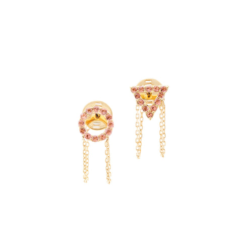 October Pink Tourmaline Earrings in 18ct Gold with stones