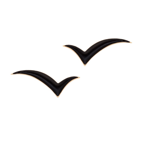 Fly with me Earrings in 18ct Gold, Black Enamel