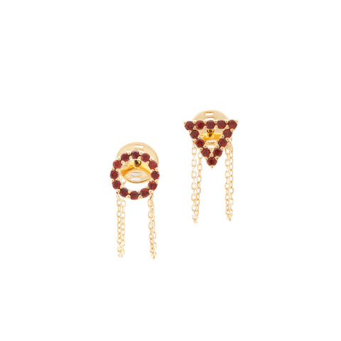 January Garnet Earrings in 18ct Gold with Amethyst Stones
