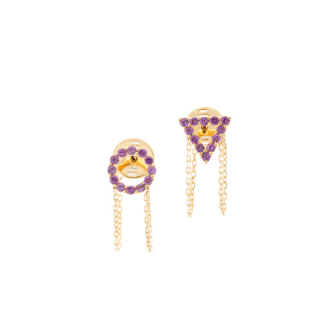 February Amethyst Earrings in 18ct Gold with Stones