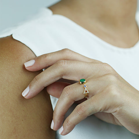 Yellow gold Ring with Malachite