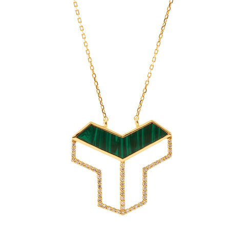 Yellow gold necklace with Green Enamel