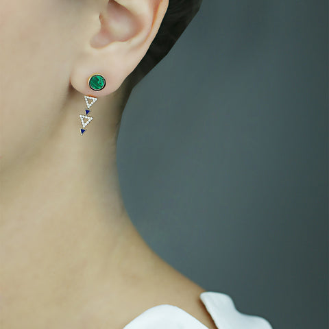 Yellow gold earrings with Malachite