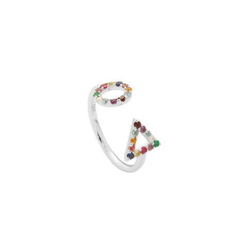 Multi Colour Ring in 18ct White Gold with Gemstones.