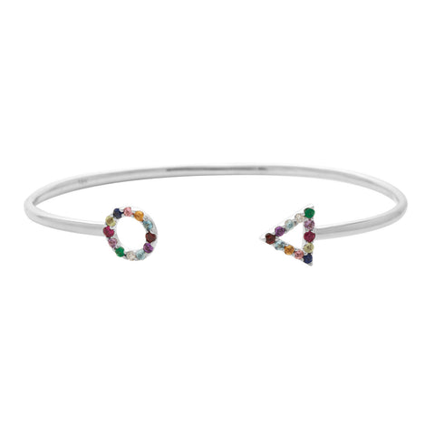 Multi Colour Bracelet in 18ct White Gold with Gemstones.