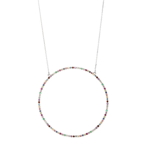 Multi Colour Circle Pendant Necklace in 18ct White Gold with Gemstones