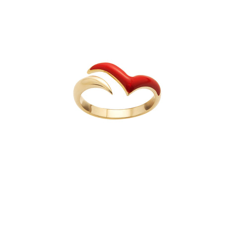 Fly with me Ring in 18ct Gold, Glossy Red Enamel