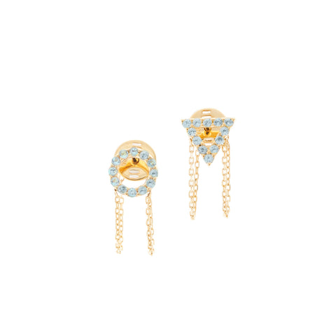 December Blue Topaz Earrings in 18ct Gold with Stones